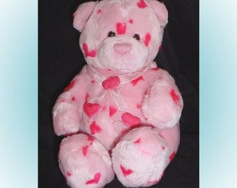 Teddy Bear Plush Pink with Hearts Gund 1990s
