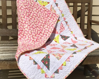 Baby Quilt, Pinwheel Baby Quilt, Baby Girl Quilt, Crib Quilt, Nursery Quilt, Pink Baby Quilt, Baby Shower Gift, Modern Baby Quilt,