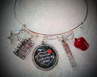 Teacher Bangle Bracelet, Teaching Is A Work Of Heart Bangle Bracelet