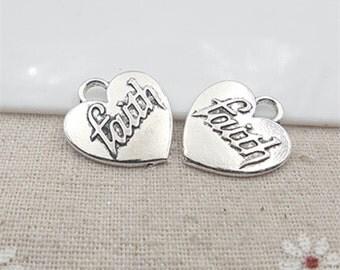 21x23mm Antique Silver Words Charm Pendants Faith Charm Pendants Heart Charm Pendants MT1241