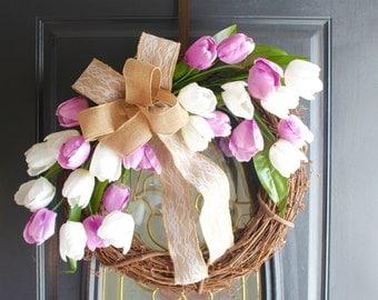Spring Door Wreath, Tulip Wreath, Easter Wreath, Grapevine Wreath, Rustic Wreath, Summer Wreath, Everyday Wreath, Valentine Wreath