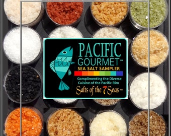 The PACIFIC Gourmet Sea Salt Sampler 16 Natural Sea Salt complimenting the multi-cultural cuisine of the Pacific Rim