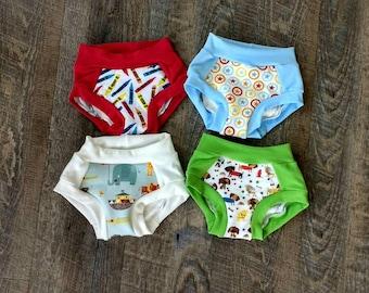 Set of 3 Premium Cotton Boys Cloth Boxer Briefs Panties Underwear Toddler Children Kid Animals Trainers - Noah's Ark - Puppy - Crayon Stars