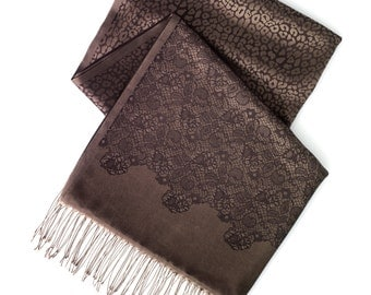 Chocolate lace and leopard print scarf