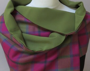 Vibrant Connaught! Pure wool tartan wrap, fully lined and hand made to order in the UK