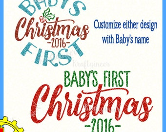 Baby's First Christmas Customizable Holly Sign svg cut file for Cricut Silhouette Scan N Cut Commercial Use