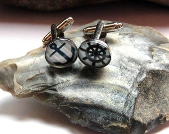Men's cufflinks anchor maritim cabochon