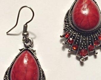 Red Waterdrop Crystal Tibetan Silver Earrings ON SALE