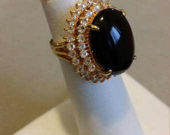 large onyx gold plated CZ ring