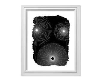 Starburst Wall Art, Starburst Print, Mid Century Modern Art, Scandinavian Art, Scandinavian Print, Mid Century Modern Print, Black White Art