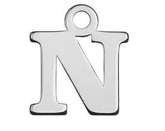 Charm Letter 'N' Sterling Silver 925