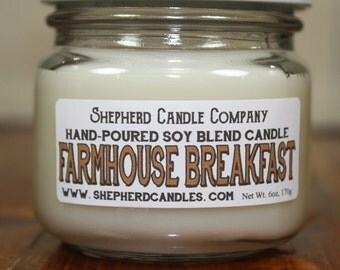 Bacon Scented Candle, Farmhouse Candle, Farmhouse Breakfast, Soy Blend Candle, 6 oz, Scented Candle, pancake candle, hand poured candle