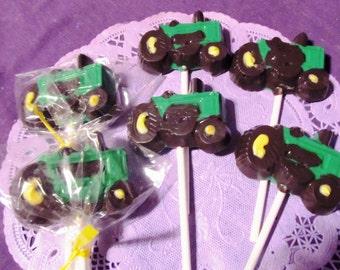 Tractors Farm Vehicles chocolate lollipops
