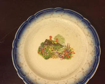 The French Saxon China Co. 22 Karat gold plate with very rare dutch cottage scene  FREE SHIPPING