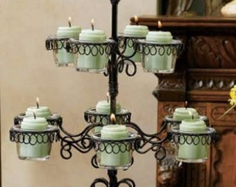 Gold Canyon 10 Glass Trellis Candle Holder Votive & Tealights Black/Bronze Retired Discontinued
