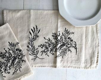 Flour Sack Towel (Unbleached) - Spring Flowers - Hand Screen Printed