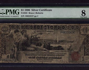 1896 One 1 Dollar Educational Silver Certificate PMG 8 VG NET Fr.225 Paper Money Currency Item #8014525-003