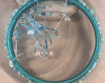 Dream catcher, Sun catcher, Crystal suncatcher, Glass suncatcher, Spider web, Wall hanging, Pagan, Wicca, OOAK.