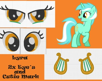 PES files: Lyra 2 x eye and Cutie mark - embroidery machine design