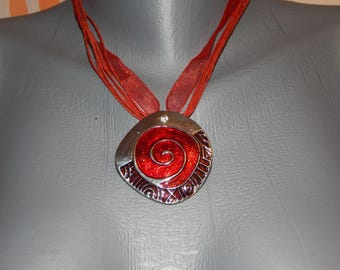 Red set necklace and earrings- glass and ribbon
