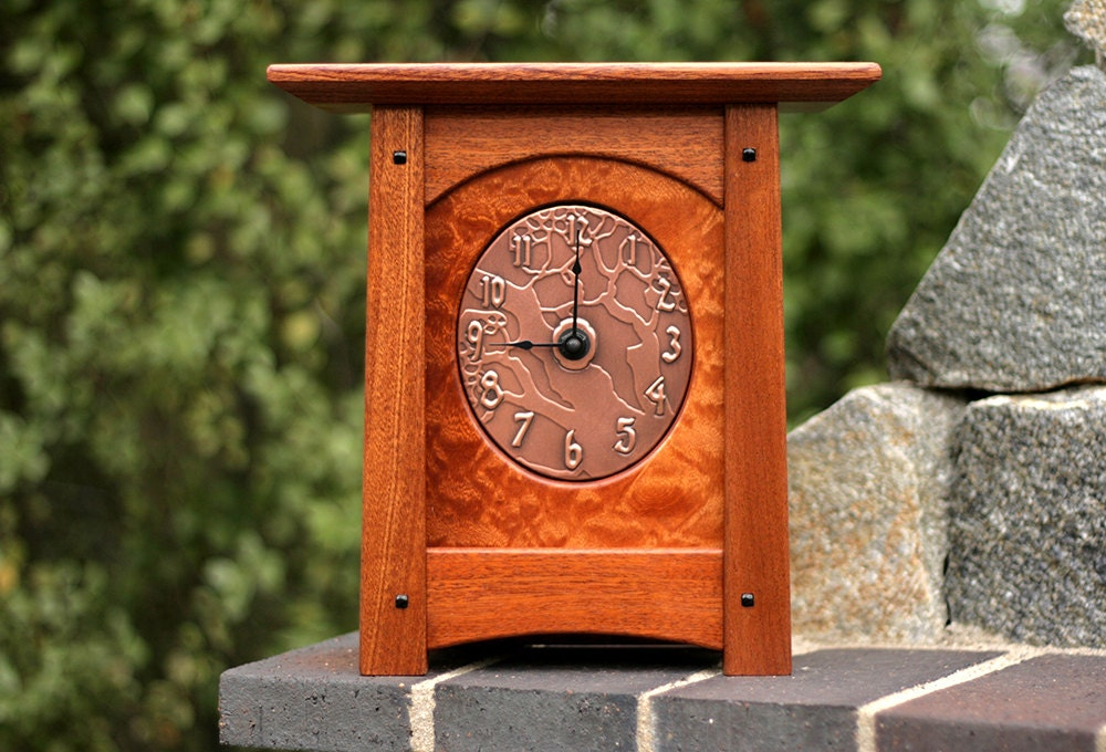 Arts crafts mission style mantel clock in solid sapele wood for Arts and crafts mantle clock