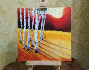 Autumn Landscape with Birches Acrylic paint on a handmade table