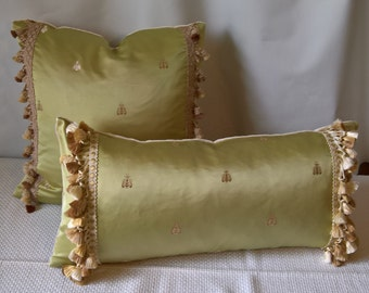 "Scalamandre MONROE BEE Napoleonic Bee Silk Lampas Pillow Scalamandre Silk Tiberius Velvet Back Silk Scalamandre Moulin Trim 11""x24"""