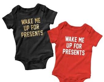 Wake Me Up For Presents Baby Onesie, Christmas Onesie, Funny Baby Onesies, Infant Onesie, Bodysuit, Baby Gift Baby Boy Baby Girl, Christmas