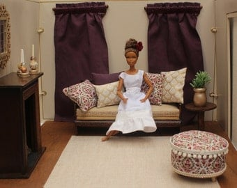 Barbie 1:6 Scale Dollhouse Accessories, Ottoman, Pillows, Curtains, Plants, Candlesticks, Poppy Parker, Playscale