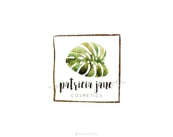 Tropical Leaf Design, Custom Logo Design, Tropical Logo, Photography Logo Design, Green Watercolor Leaves, Palm Leaf Calligraphy Logo