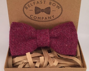 Handmade Harris Tweed Bowtie in Raspberry - Adults & Boy's sizes Available