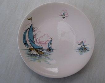 Washington pottery Blue Caribbean sailing boat yacht design - small dinner plate