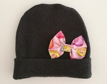 Baby fleece hat with bow candy
