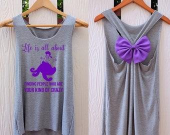 Mermaid Disney Villain Bow Tank Top. Racerback bow. Disney shirt. DISNEY VILLAIN Tank Top. Work out tank top. Villain shirt. Disney