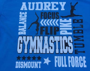 Gymnastics Shirt With Name and Team Name on the Back - Personalize the Colors -Glitter - Gymnast Gift  - Gifts for Girls-Love Gymnastics