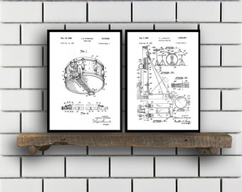 Drum Patents Set of 2 Prints, Drum Prints, Drum Posters, Drum Blueprints, Drum Art, Drum Wall Art, Sp313
