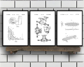 Skateboard Patents Set of 3 Prints, Skateboard Prints, Skateboard Posters, Skateboard Blueprints, Skateboard Art, Skateboard Wall Art