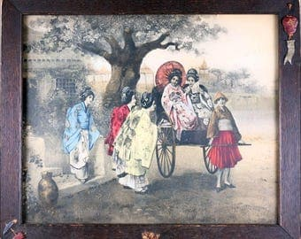 Antique Japanese Print 1930's Gorgeous Hand Colored Lithograph with Original Frame