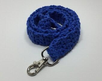Blue Crochet Lanyard, Crochet Lanyard, Handmade Cotton Lanyard, Gift for Her, Teacher Gift, ID Holder, Keys, Crochet Key Holder