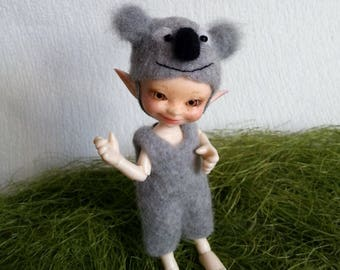 """OOAK Felted Outfit """"Koala Bummy"""" for Realpuki - Realpuki clothes - Doll Outfit"""