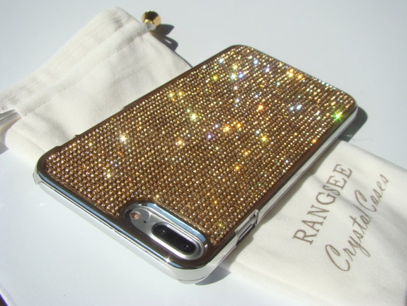 iPhone 7 Plus Gold Topaz Diamond Rhinestone Crystals on Silver Chrome Case. Velvet Pouch Included, Genuine Rangsee Crystal Cases