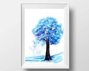 Spring Tree abstract watercolor painting blue color wall art print livingroom decor single tree landscape print small large nature art