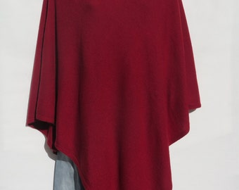 "100% Cashmere Knit ""Boat Neck"" Design Poncho Handloomed Tibetan High Quality Himalaya Cashmere Yarn - Solid: Deep Dark Red-1 Size N242D.6394"