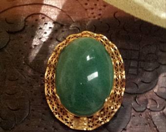 Jade 12KF vintage brooch - pendsnt