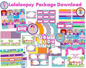 Lalaloopsy Party Package, party decor, Cupcake toppers, signs, birthday banner, water bottle wrappers, buffet cards, full set, download file