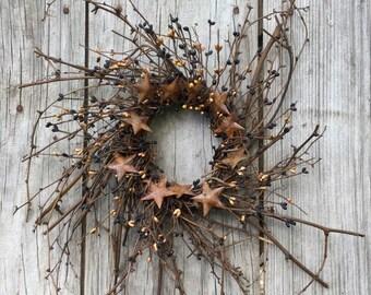 Black and Tan Pip Berry Wreath, Twig Wreath, Patriotic Wreath, Country Wreath, Rustic Wreath, July 4th Wreath, Primitive Wreath, Free Ship