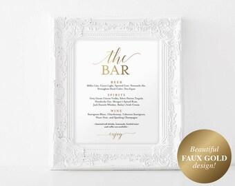 Faux Gold The Bar Sign, Bar Menu Sign, Bar Menu Wedding, Bar Menu Template, Wedding Bar Sign, Drink Sign, PDF Instant Download #BPB324_58
