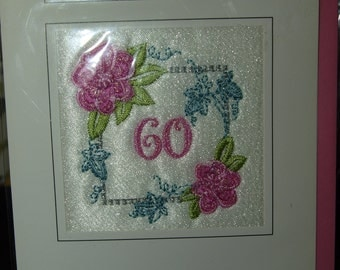 Diamond Wedding Anniversary Cards  60 in a Flowery Frame