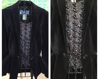 Thierry Mugler Designer Blazer - High End Avant Garde 1940s Style Beaded Jacket with Peplum - M
