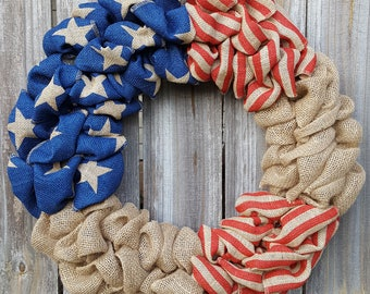 4th of July Wreath, Patriotic Wreath, Summer Burlap Wreath, Fourth of July Decor, Burlap Door Wreath, Stars and Stripes, Red white and blue